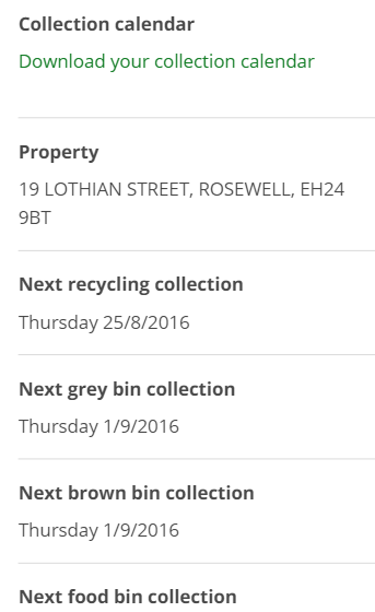 Bin collection information is clear concise